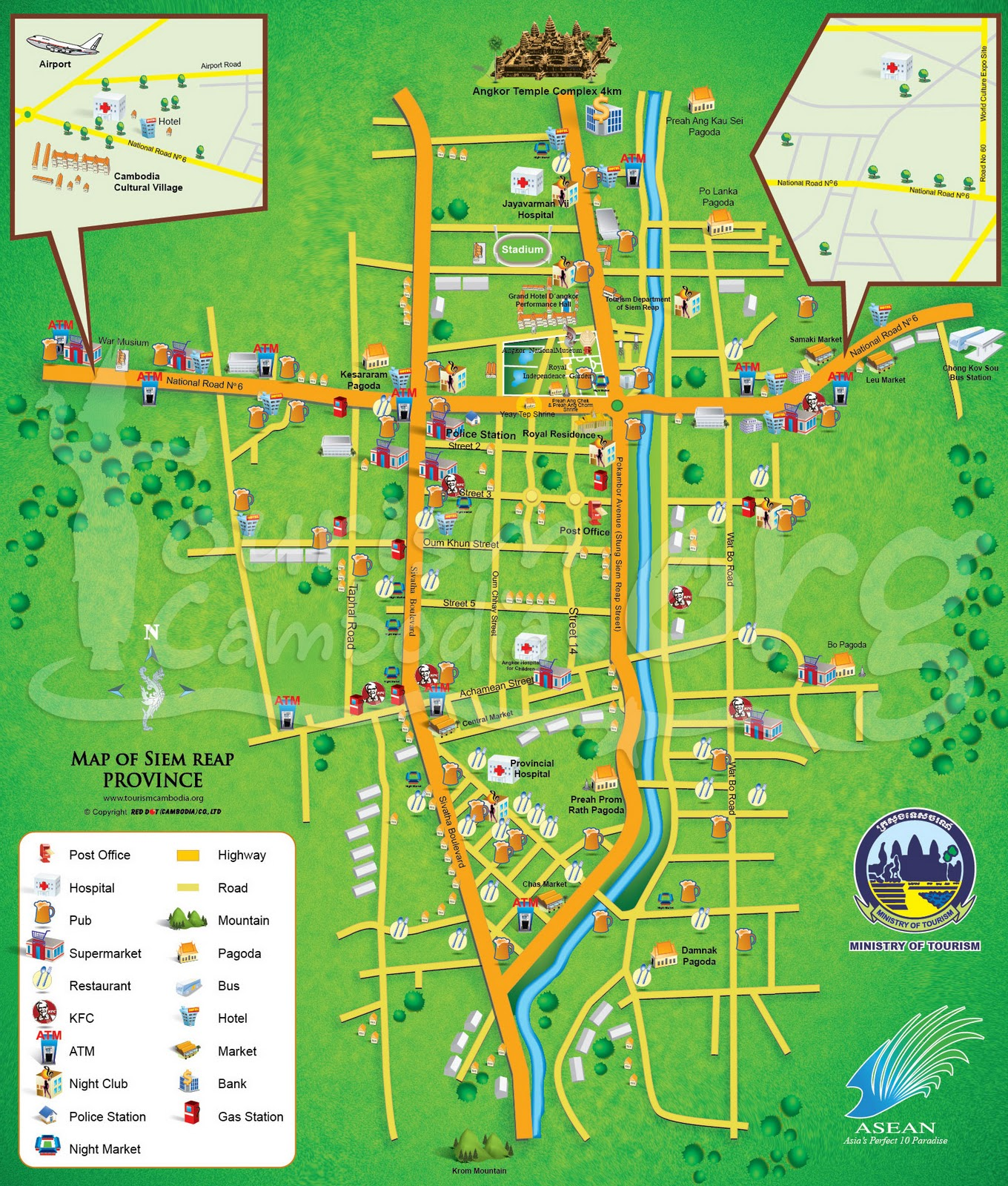 GoodluckCambodia Cambodia Tourism Map – Cambodia Tourist Attractions Map