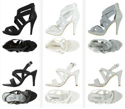 Sandalias de tacón en negro, blanco o perla