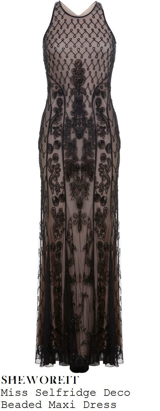 chloe-jasmine-champagne-nude-and-black-bead-embellished-scoop-neck-maxi-dress-gown-x-factor-80s-week