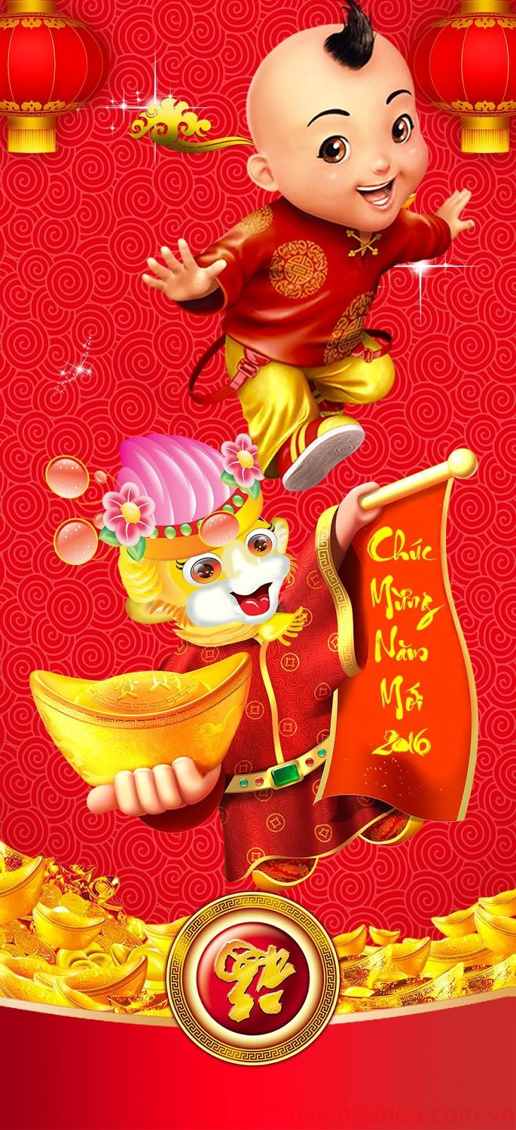 Ảnh bìa tết, chúc mừng năm mới 2016 - Cover Happy new year năm con khỉ bính thân