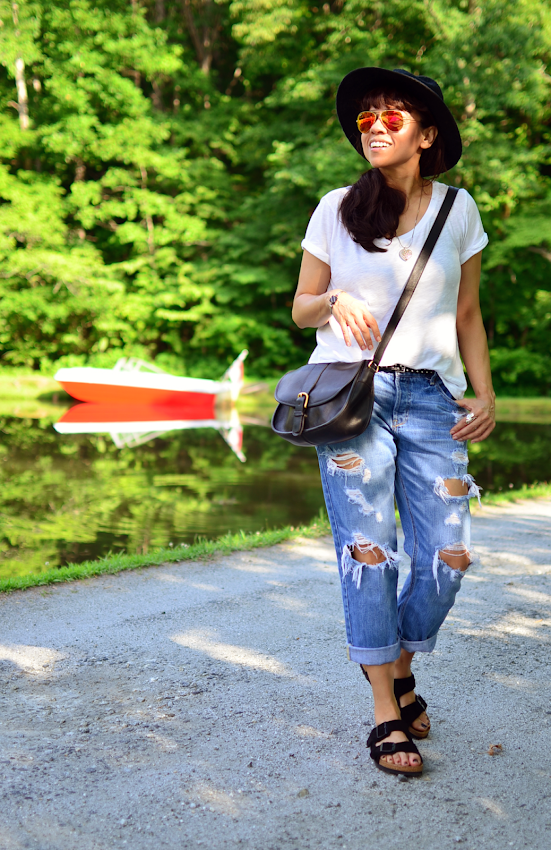 Outfit with Birkenstocks in outdoors