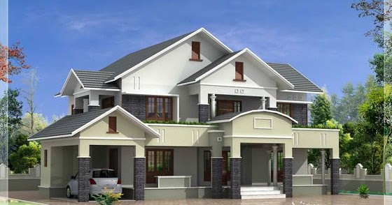 2172 kerala house with 3d view and plan - 4 Bedroom Sloped Roof House In 2900 Sq Feet Home Design