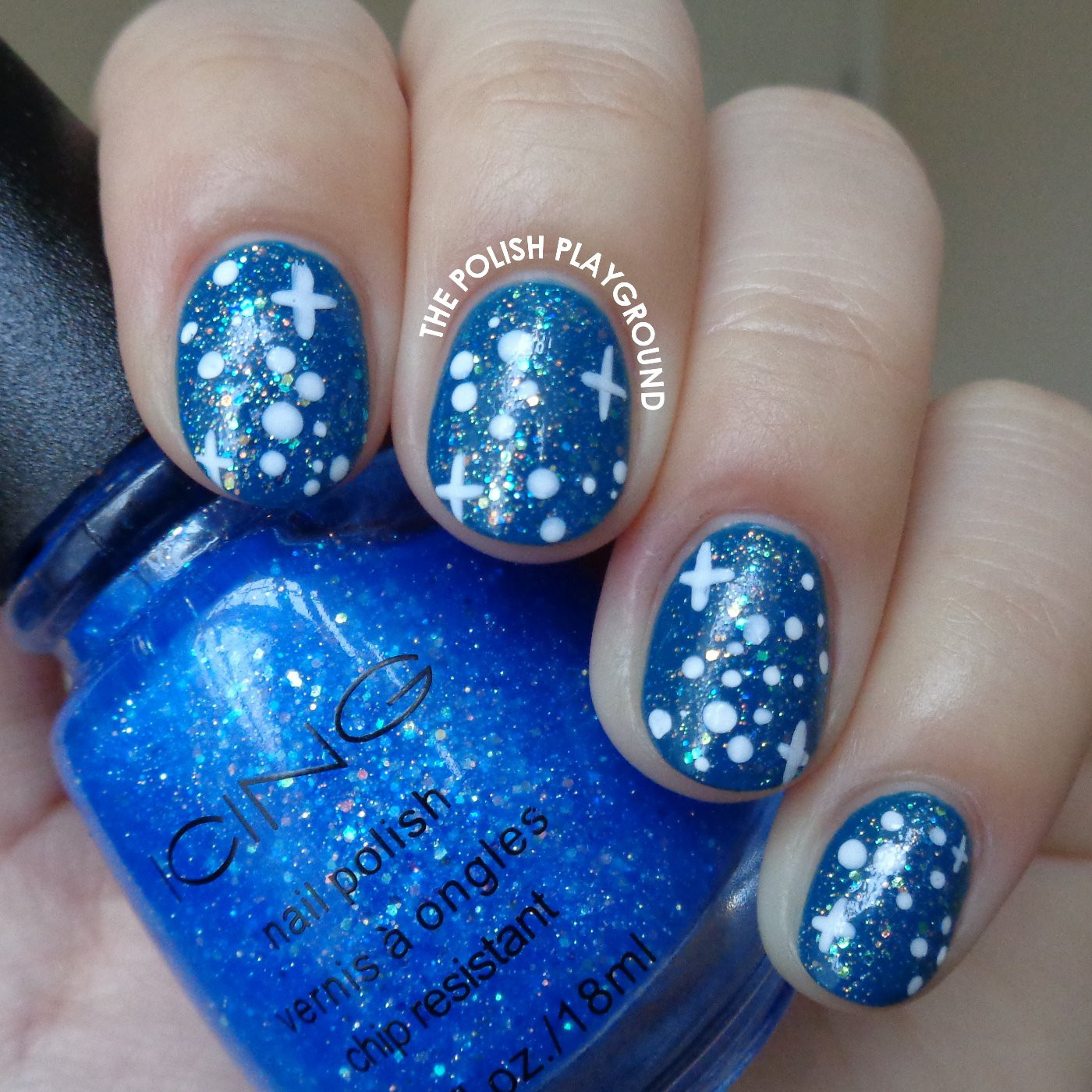 A Blue Starry Night Sky Nail Art