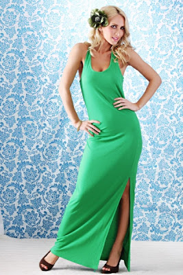 GREEN THERMAL KNIT SCOOPNECK RACERBACK SIDE SLIT MAXI DRESS