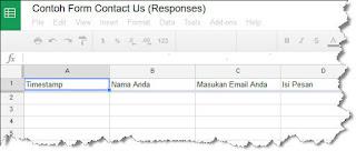 contoh formulir spreadsheet google form