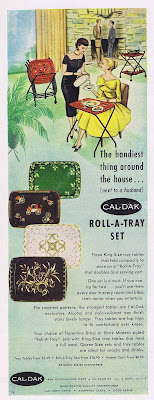 A 1957  ad for TV tray sets in a variety of styles and colors.