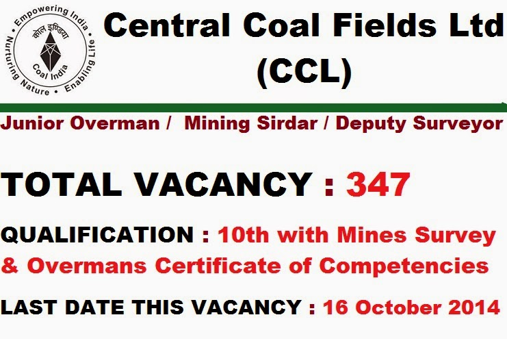 Central Coal Fields Ltd (CCL) Recruitment 2014 for Freshers as ...