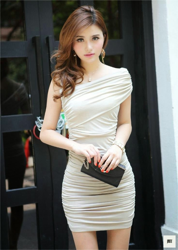 Japon Style Muhteşem Elbise Bej