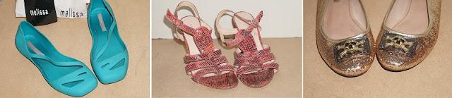 Lojinha da Carina Pedro no Enjoei: sapatilha Melissa verde, sandália animal print rosa Stilleto, sapatilha caveirinha Santa Lolla para C&A