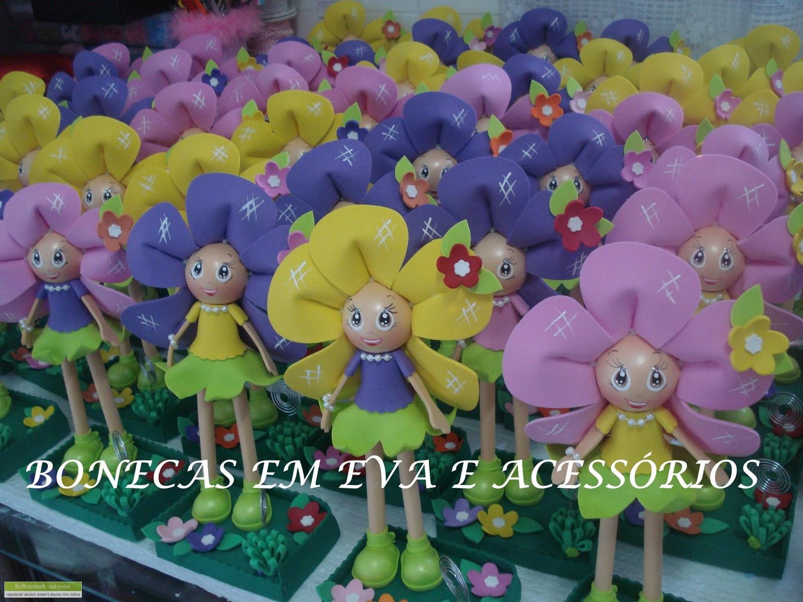 mini jardim acessorios:Bonecas em eva e acessorios.: FLORES PARA ENFEITAR O JARDIM (Mini