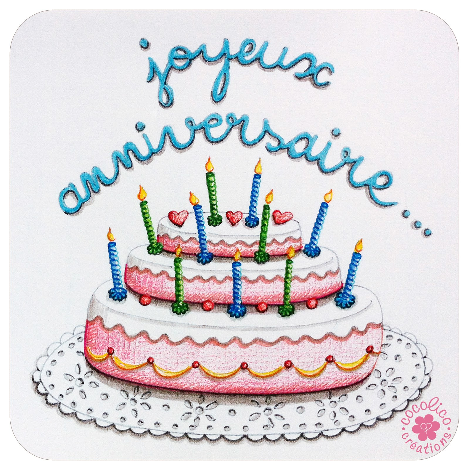 Cocolico creations illustrations - Coloriage gateau anniversaire ...