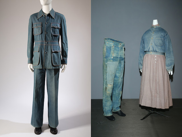 1973 denim leisure suit and 1840s denim workwear