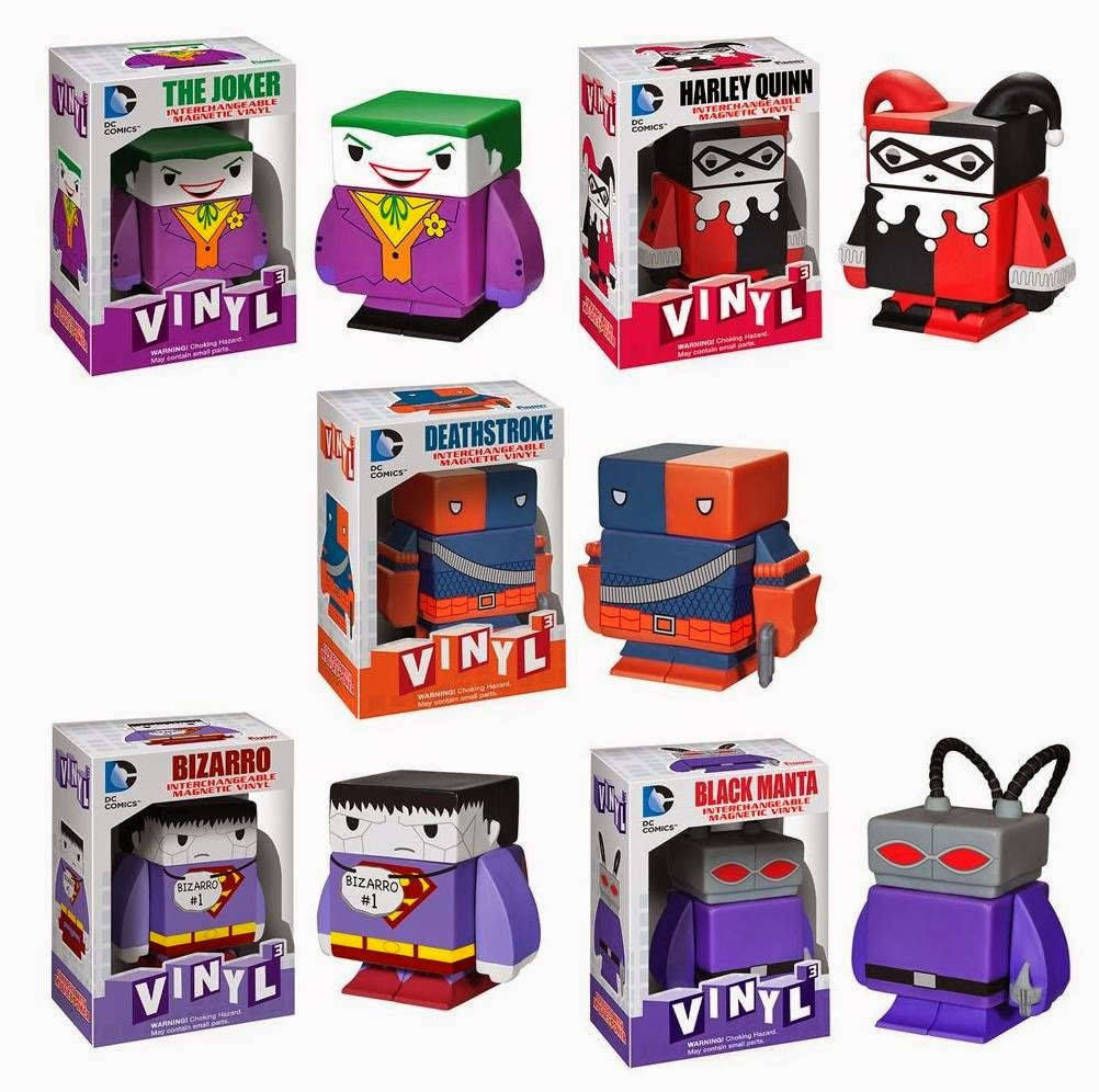 DC Comics Interchangeable Magnetic Vinyl Figures by Funko - The Joker, Harley Quinn, Deathstroke, Bizarro & Black Manta