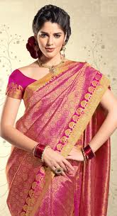 wedding designer pink silk saree