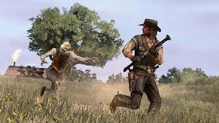 john marston avec le tromblon dans Undead Nightmare du jeu Red Dead Redemption