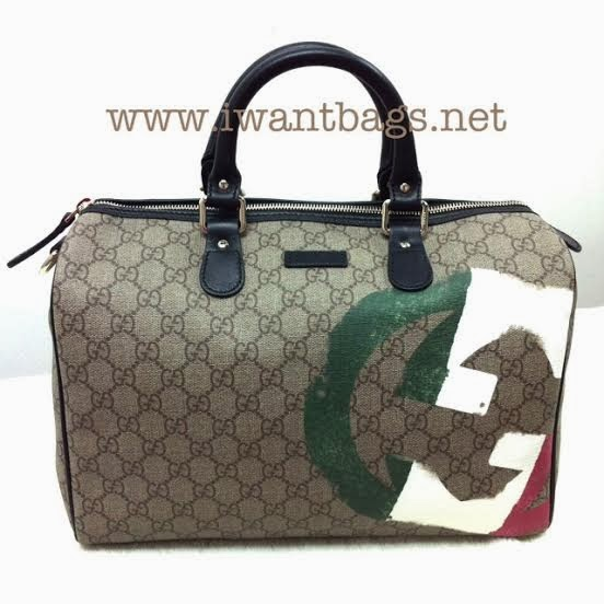 Gucci Italy GG Flag Boston Bag
