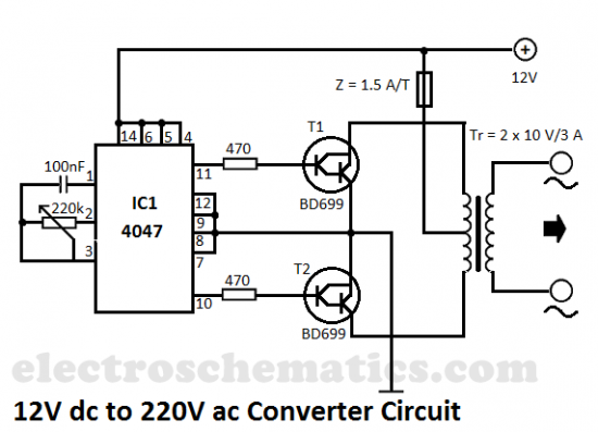 220v ac to 12v dc simple diagram