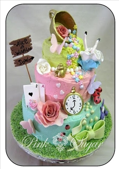 pink sugar alice in wonderland butter iced cake