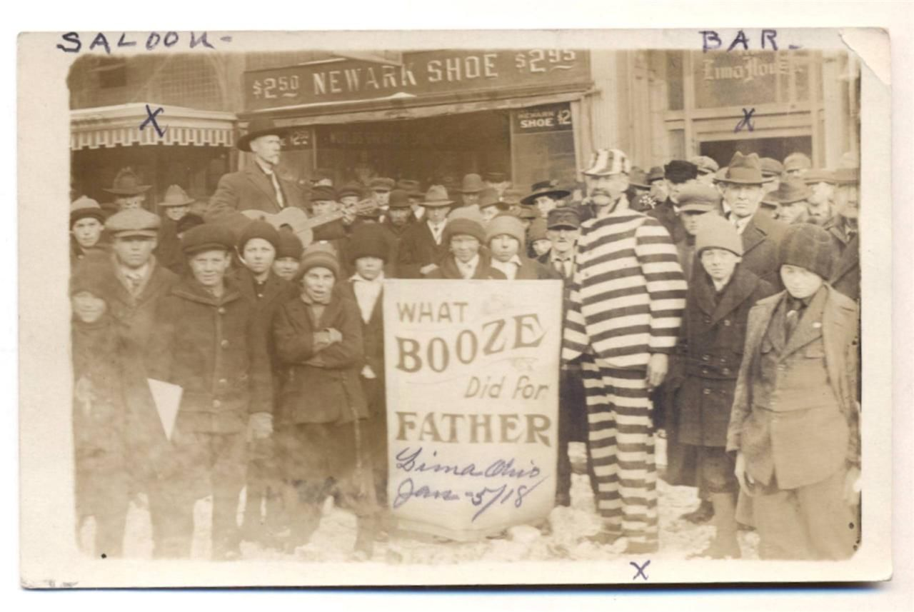 Shoes And Booze ~ 1918 Prohibition Rally In Lima Ohio ~ Newark Shoe Store  RPPC