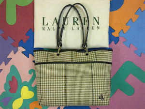 Ralph Lauren Camel Houndstooth Medium Tote Bag(SOLD)