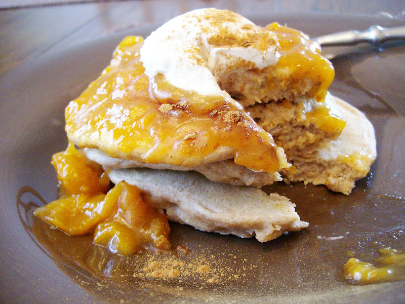 The Foodie RD: Oatmeal Pancakes with Honey Bourbon Apricot Topping