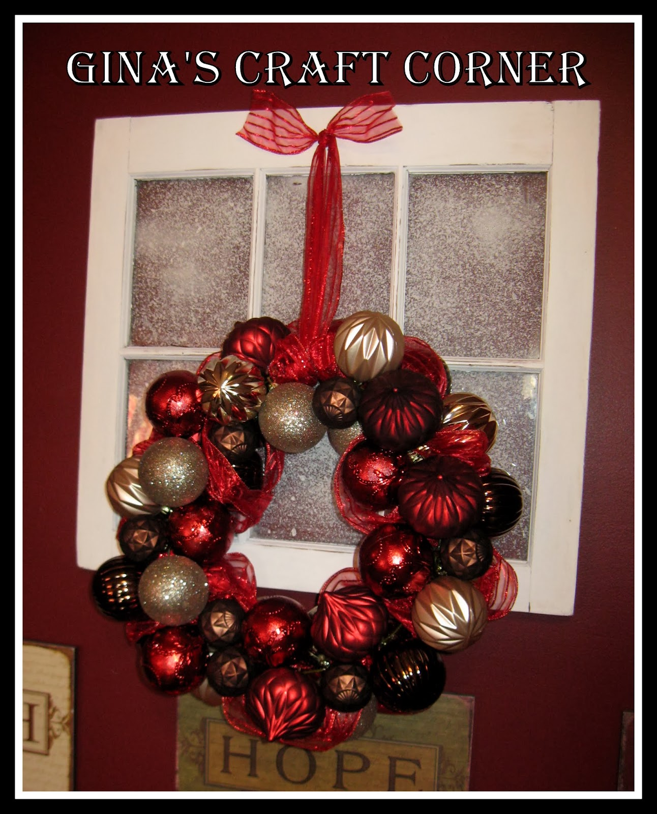 make a christmas ball wreath w a coat hanger ginas craft corner - Christmas Ball Wreath