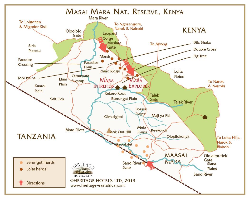 Wildebeest migration map