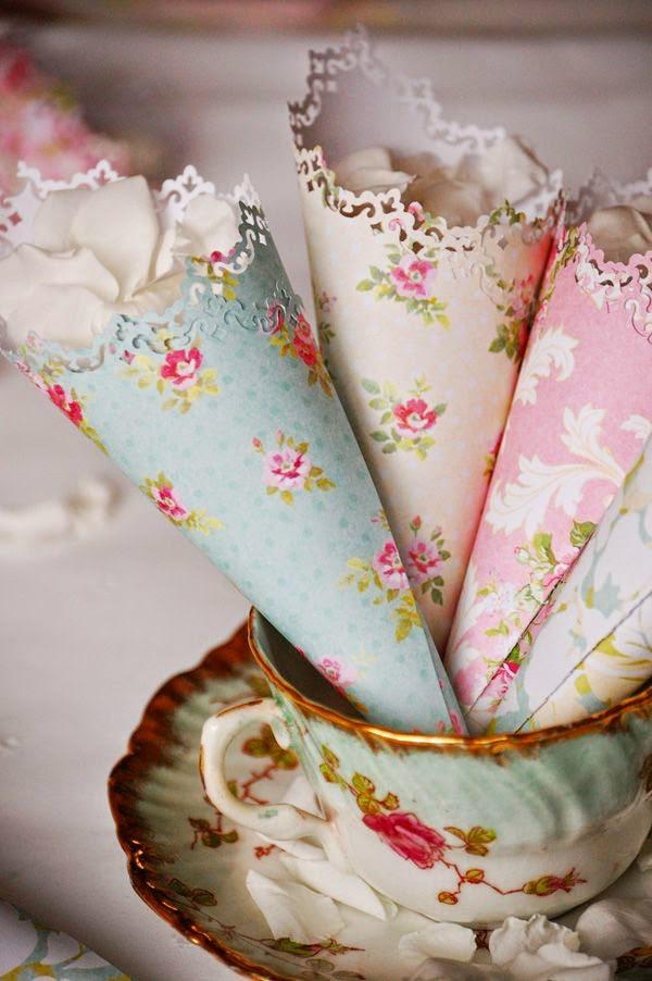 DIY floral paper cones