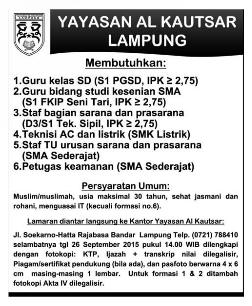 Lowongan Kerja di YAYASAN AL KAUTSAR Lampung