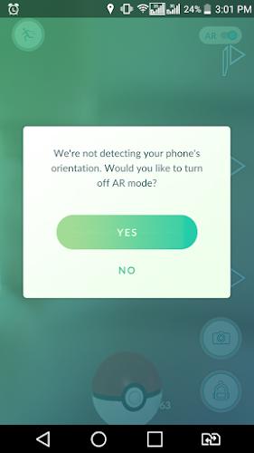 Porque não consigo usar a câmera do celular no Pokemon-Go