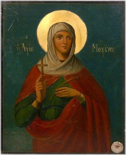 Αγιορείτικη εικόνα της Αγίας Μαρίνας με ενσωματωμένο μικρολείψανό της (1938).