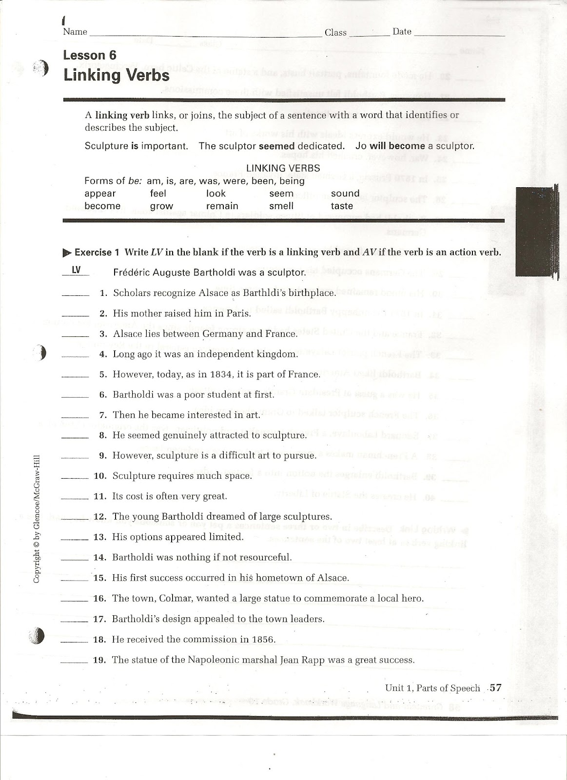 worksheet Linking Verbs Worksheets miss cardens class linking verbs worksheet workbook page 57 57