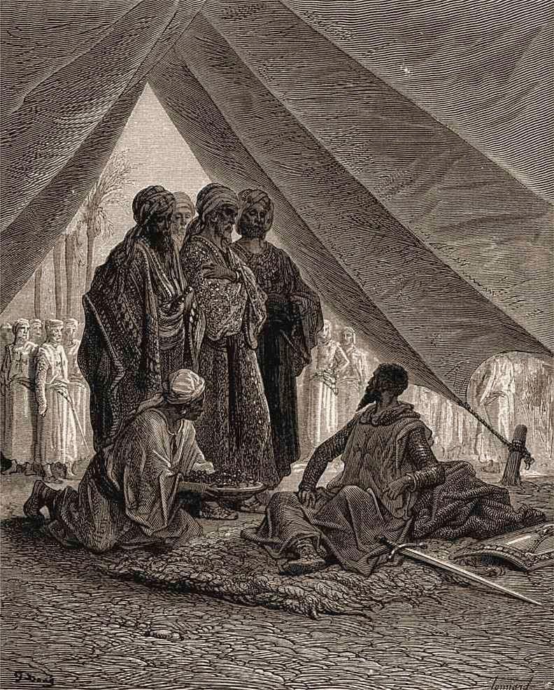 Godofredo de Bouillon recebe os emires em sua tenda. Gustave Doré (1832 — 1883)