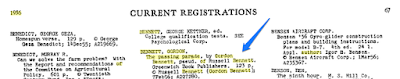 Climbing My Family Tree: Copyright registration for The Passing Parade by Gordon Bennett, pseud of Russell Bennett