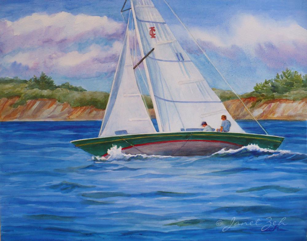 Sailboat Watercolor Seascapes Painting