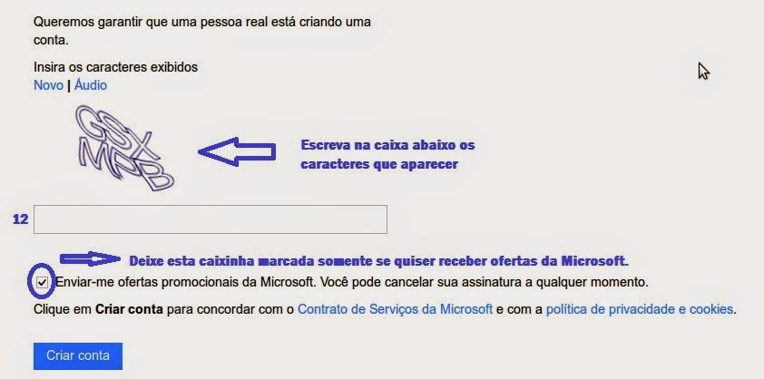 como criar um email no hotmail/outlook passo 5