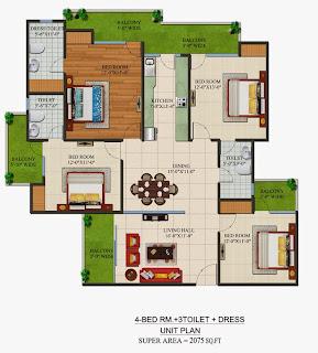 Czar Suites :: Floor Plans:-Nicolas-4 Area - 2075 sq. ft.