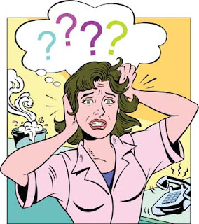 Woman stressed cartoon