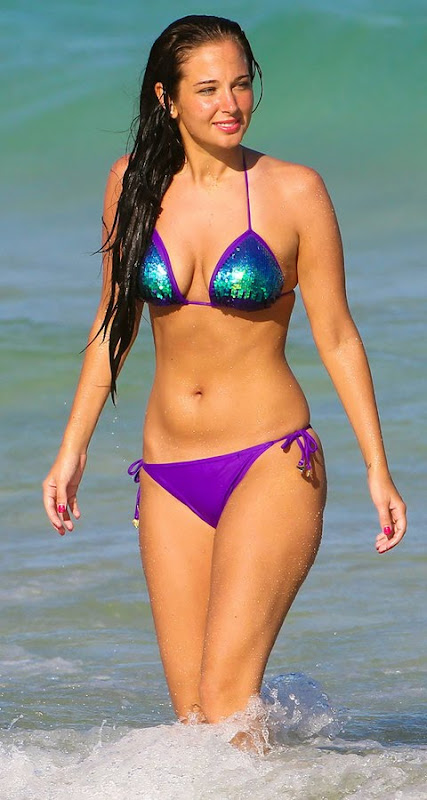 British pop star Tulisa Contostavlos in a shiny bikini- 19 Pics