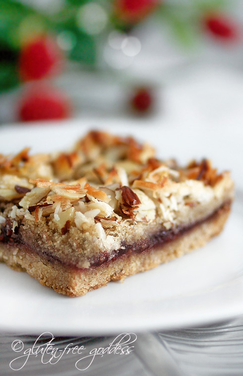 Gluten-Free Coconut Almond Raspberry Bars, darling