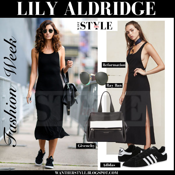 Lily Aldridge in black maxi dress and black sneakers and round ray ban sunglasses streetstyle new york fashion seek 2015