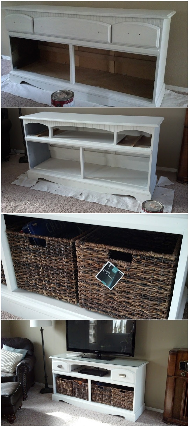 Dresser turned TV stand makeover