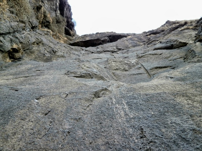 A close-up shot of the 70 feet rock patch on Alang from its base