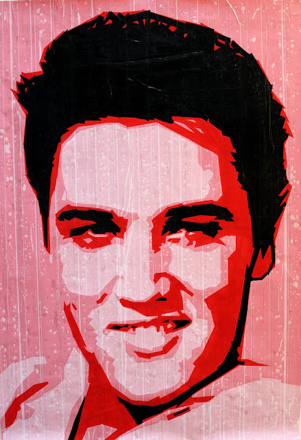 Elvis Presley   tape art   artist Sonya  Bronya Benigeler israel painting mixed media collage street jew