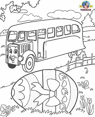 Kids Happy Easter egg coloring pictures of Thomas the train and friends characters Bertie the bus