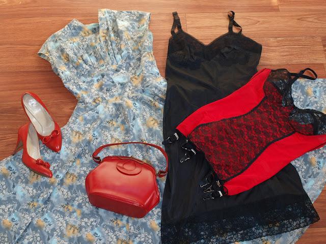 50's vintage red shoes, red purse bag, black petticoat slip, stockings romance shaper