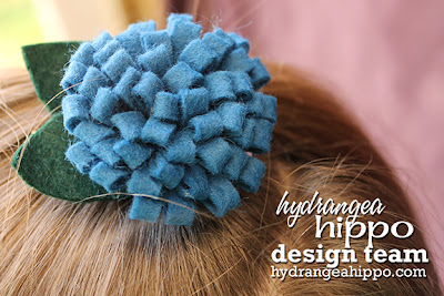 Blue Felt_Pom Pom Flower_Hair Bow