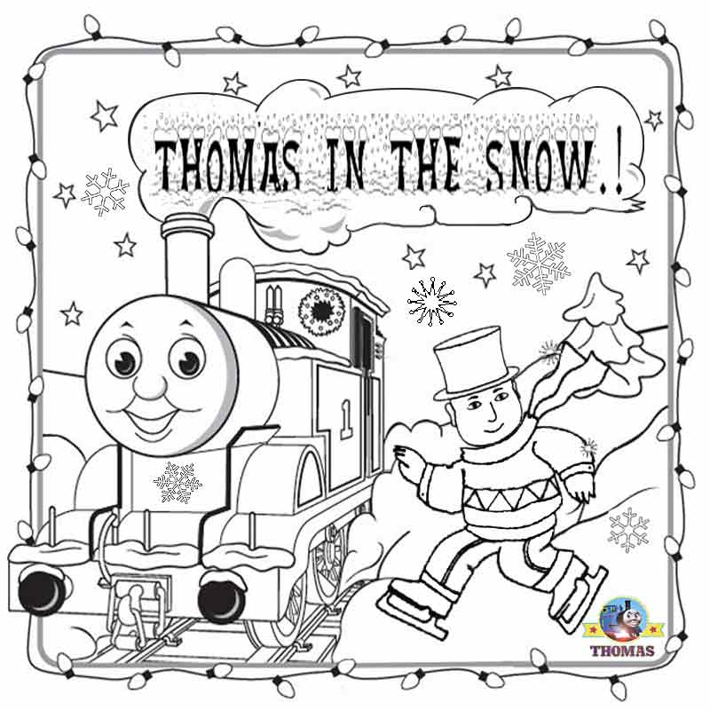 Free Winter Season Printable Merry Christmas Colouring Pages For Kids Thomas In The Snow Ice Skating