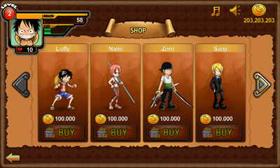 menu shop di game One Piece