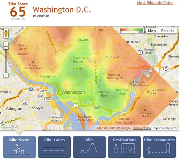bloomingdale BikeScore map of DC has Bloomingdale in green
